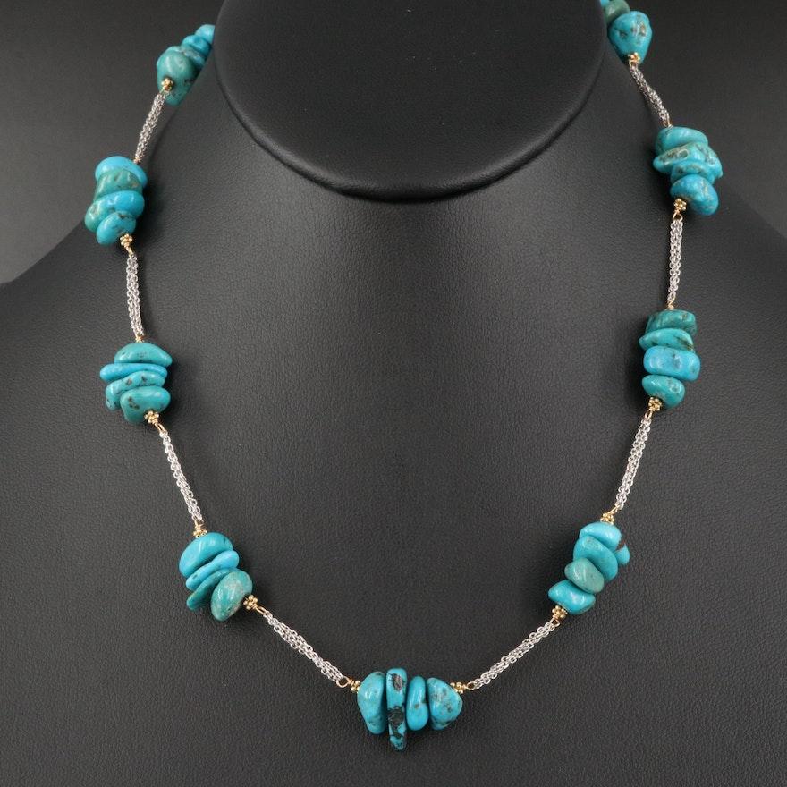 14K Tumbled Turquoise Station Necklace