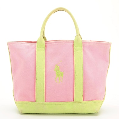 Polo Ralph Lauren Small Tote Bag in Pink and Chartreuse Green Canvas
