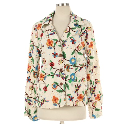 Johnny Was Embroidered Jacket in White Cotton with Multicolor Floral Embroidery