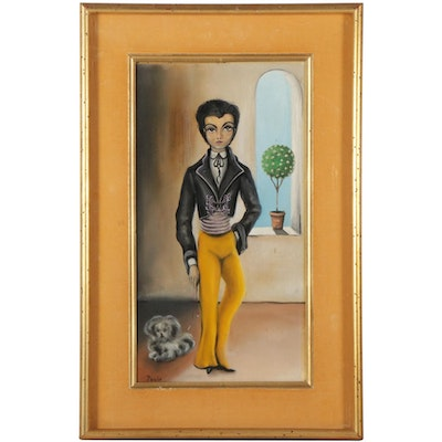Folk Art Style Oil Painting of Figure and Dog, Mid to Late 20th Century