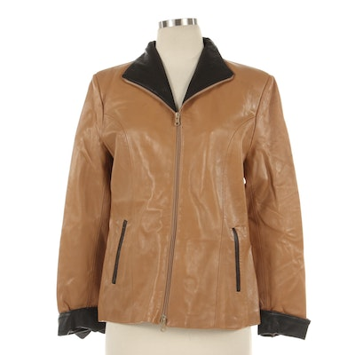 Giotto Italian Tan and Black Leather Zipper-Front Jacket