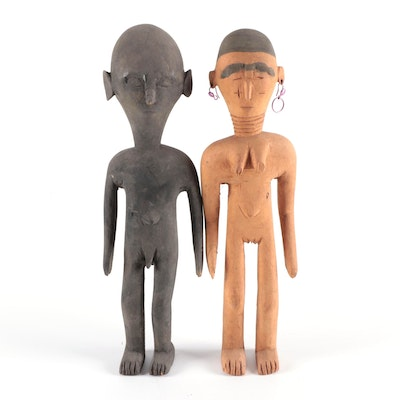 West African Hand-Carved Wood Figures of Man and Woman