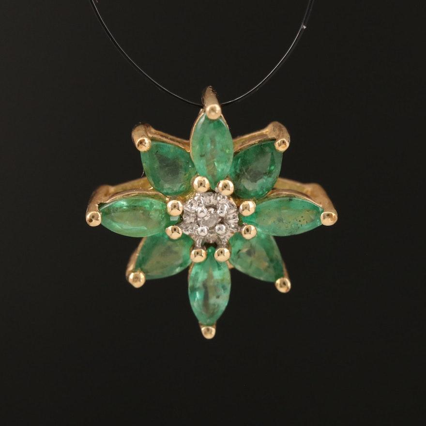 10K Emerald and Diamond Flower Pendant