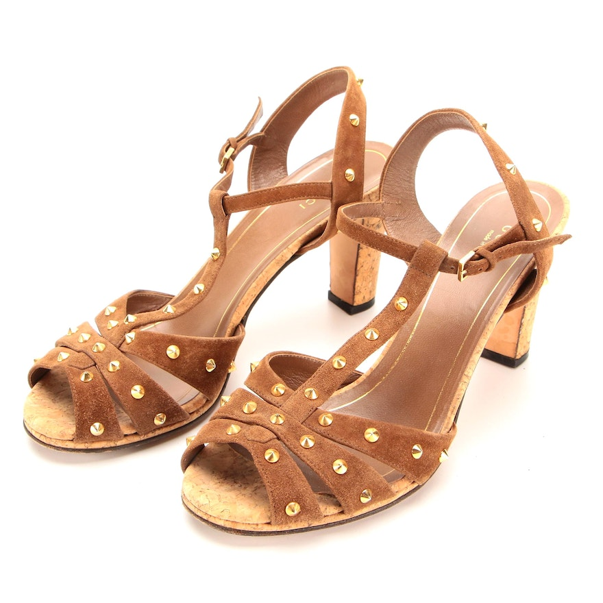 Gucci Open-Toe T-Strap Cork Sandals in Studded Brown Suede