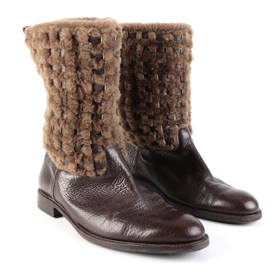 Men's Lorenzo Banfi Pull-Up Boots in Dark Brown Leather with Woven Shearling
