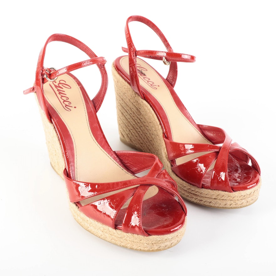 Gucci Espadrille Platform Sandals in GG-Embossed Red Patent Leather