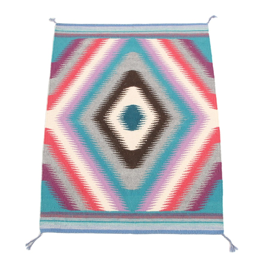 2'2 x 2'10 Handwoven Southwestern Style Accent Rug