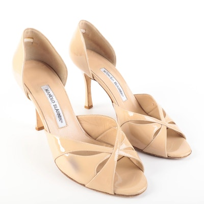 Manolo Blahnik Open-Toe d'Orsay Pumps in Nude Patent Leather