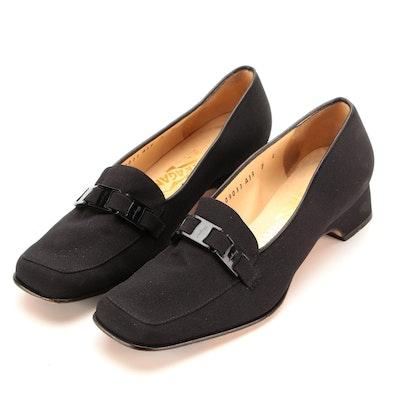 Salvatore Ferragamo Black Textile Loafers