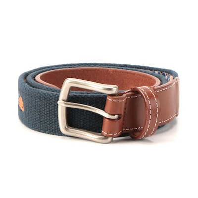 Peter Millar Mission Hills Belt in Blue Canvas and Leather