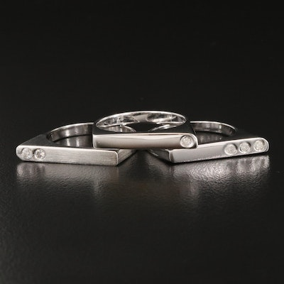 Sterling Silver Diamond Stacking Rings