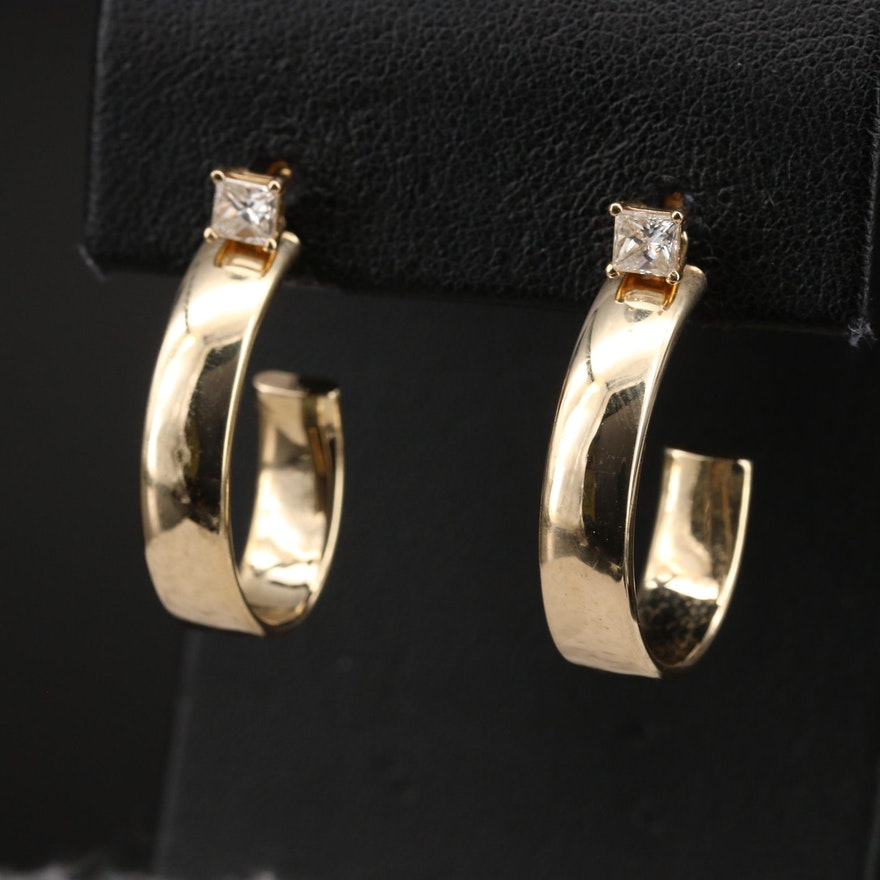 14K 0.60 CTW Diamond Stud Earrings with J Hoop Enhancers