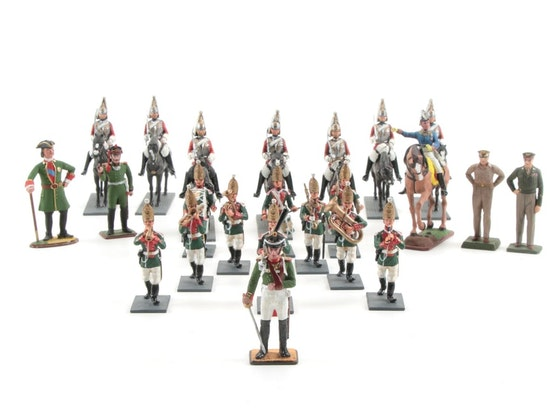 Militaria: Pewter Miniatures, Bronze Figures & Lithographs