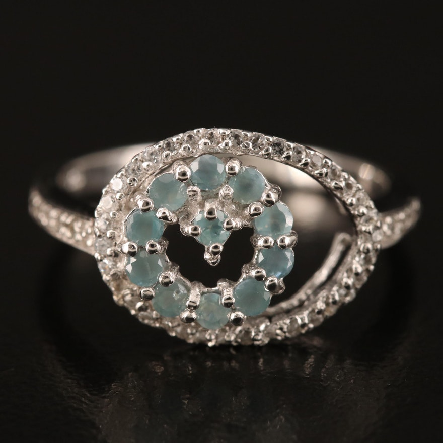 Sterling Silver Alexandrite and Topaz Ring