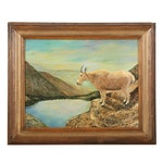 Reverend L. M. Phillips Landscape Oil Painting of Mountain Goat, 1982