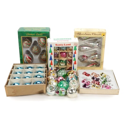 Vintage Hand-Decorated Glass Christmas Tree Ornaments