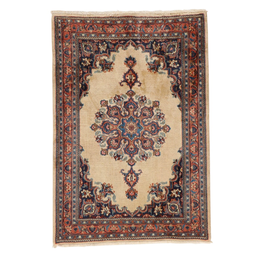 3'3 x 4'9 Hand-Knotted Persian Tabriz Silk Blend Accent Rug, circa 1980s
