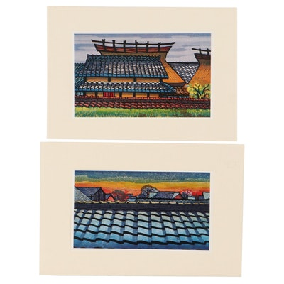Offset Lithographs in The Style of Clifton Karhu of Rooftops, Circa 2000