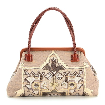 Marian Paquette Hard Frame Olivia Bag in Turkish-Style Woven Textile and Leather
