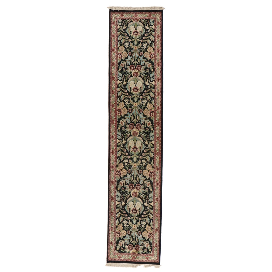 2'8 x 12'10 Hand-Knotted Pakistani Floral Carpet Runner