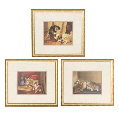 """Offset Lithographs After Henriëtte Ronner-Knip """"Cats by a Fishbowl"""" And More"""