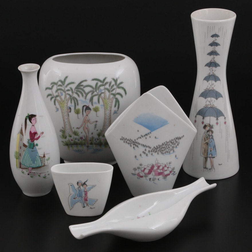 Raymond Peynet for Rosenthal Porcelain Vases, Late 20th Century