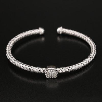 Sterling Pavé 0.19 CTW Diamond Woven Cuff