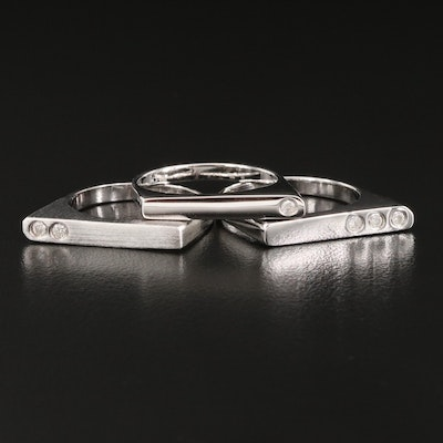 Sterling Silver and Diamond Stacking Rings