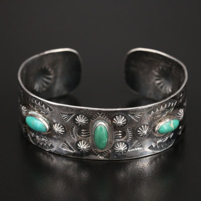 Western Style Sterling Turquoise Punch Out and Stamped Cuff