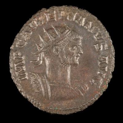 Ancient Roman Imperial AE Antoninianus Coin of Aurelian, ca. 270 AD