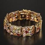 18K Bezel Set Panel Bracelet Including Sapphire, Garnet and Cubic Zirconia