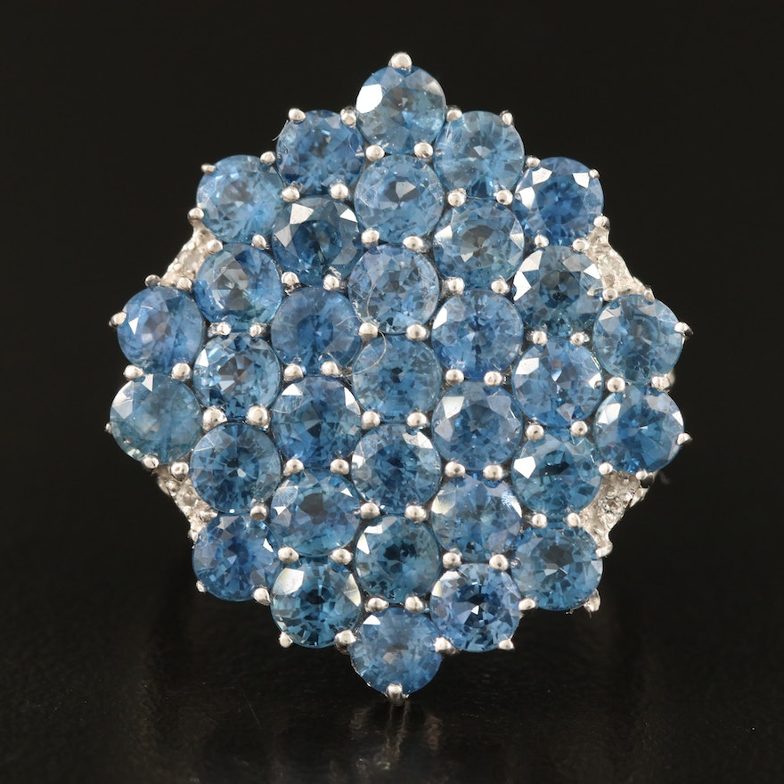 Sapphire and Zircon Cluster Ring in Sterling Silver