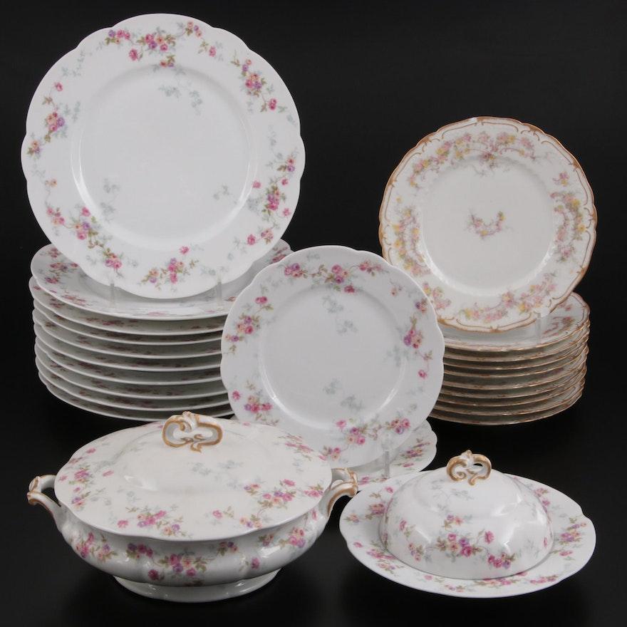 "Haviland ""Schleiger"" and Bernardaud Rose Spray Porcelain Dinnerware"