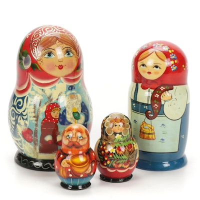 Four Sets of Hand-Painted Russian Matryoshka Dolls