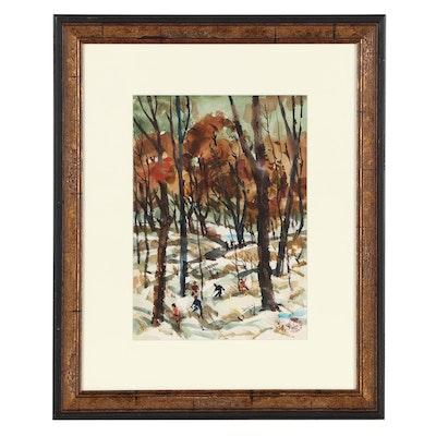 "Carl Zimmerman Landscape Watercolor Painting ""Winter Woods"""