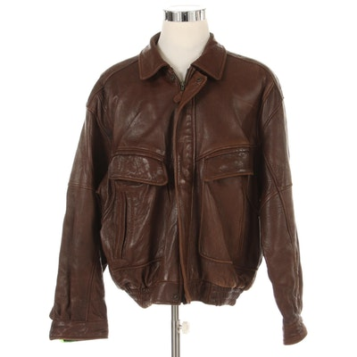 Men's Town & Country Brown Leather Bomber Jacket