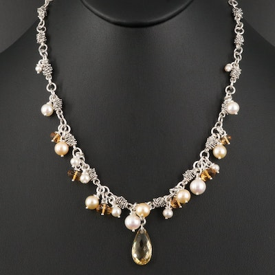 Michael Dawkins Sterling Silver Pearl and Citrine Fringe Necklace