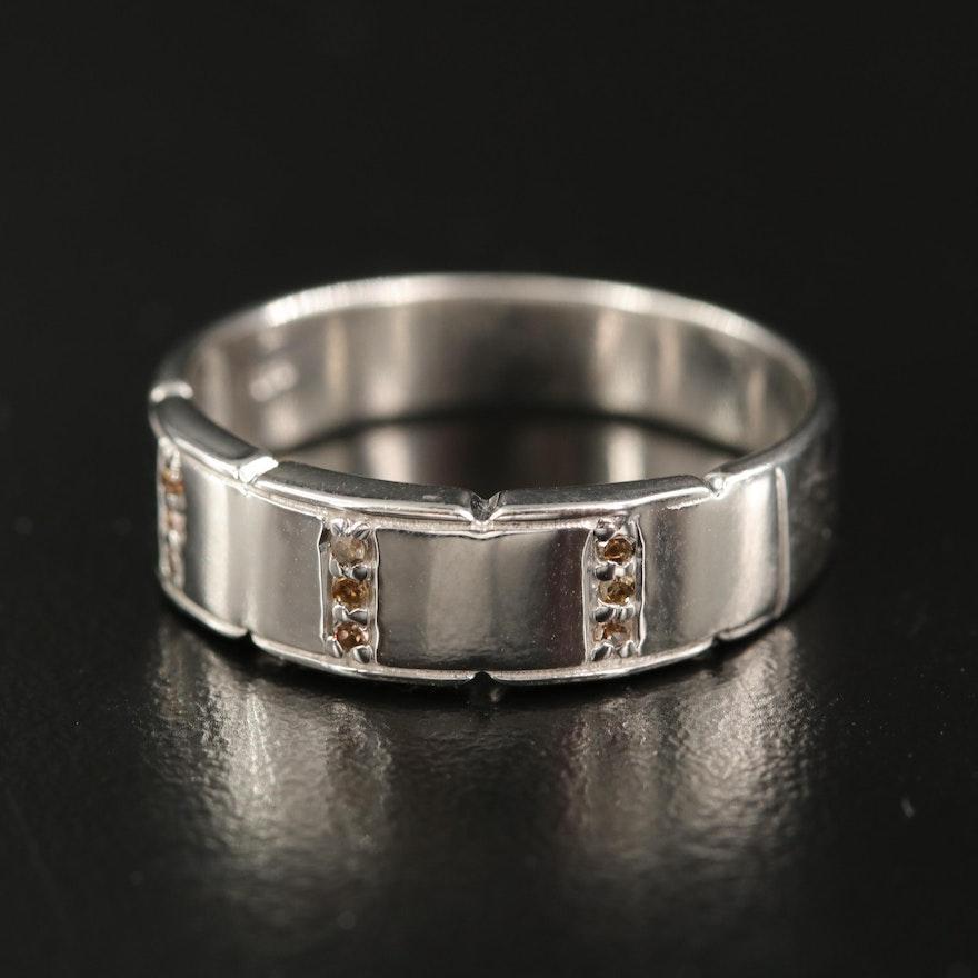 Sterling Silver Diamond Band