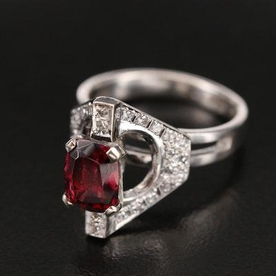 10K Garnet and Diamond Geometric Cathedral Ring