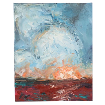 """Claire McElveen Oil Painting """"Setting Sun,"""" 2021"""