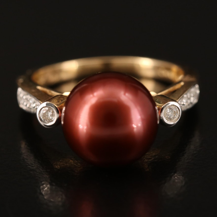 14K 10.50 mm Pearl and Diamond Ring