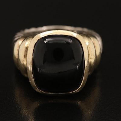 "David Yurman ""Nobelesse"" 14K and Sterling Black Onyx Braided Ring"