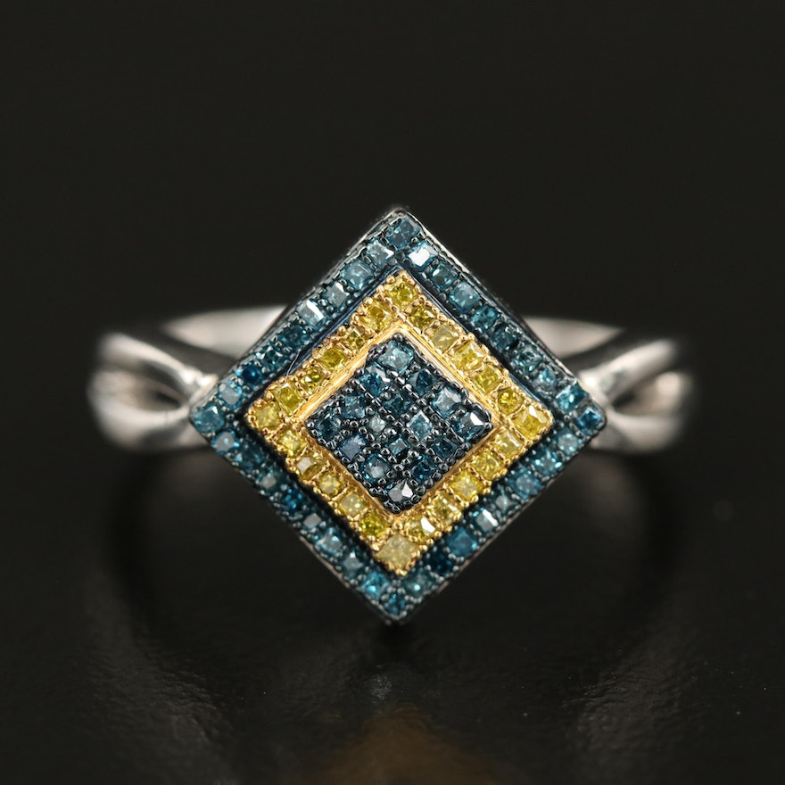Sterling Silver 0.23 CTW Fancy Blue and Fancy Yellow Diamond Ring