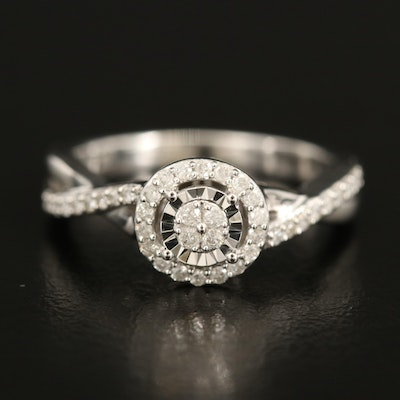 Sterling Diamond Ring with Crossover Shoulders