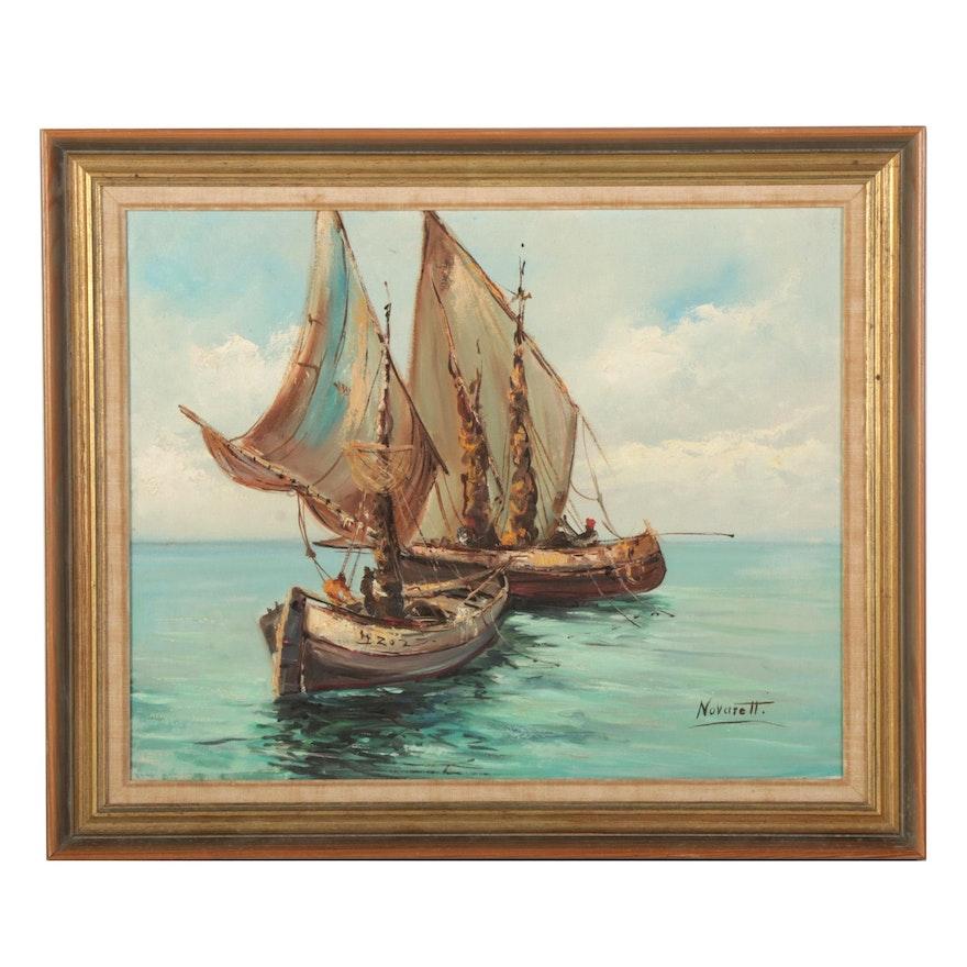 T. L. Novaretti Maritime Oil Painting of Two Sailboats, Late 20th Century