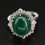 14K 12.31 CT Emerald and Diamond Ring with GIA Report