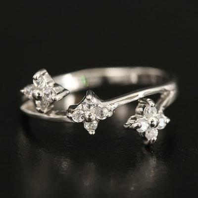 Sterling Silver Zircon Flower Ring