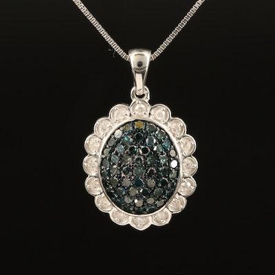 Sterling 0.37 CTW Diamond Flower Pendant Necklace