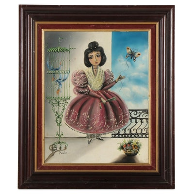 South American Folk Art Oil Painting of Female Portrait, Circa 1980