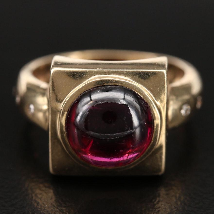14K Garnet and Diamond Ring with Burnished Set Shoulders